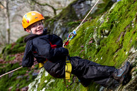 """Biscuiteering"" - abseiling at Weem Rock, Aberfeldy, Perthshire"